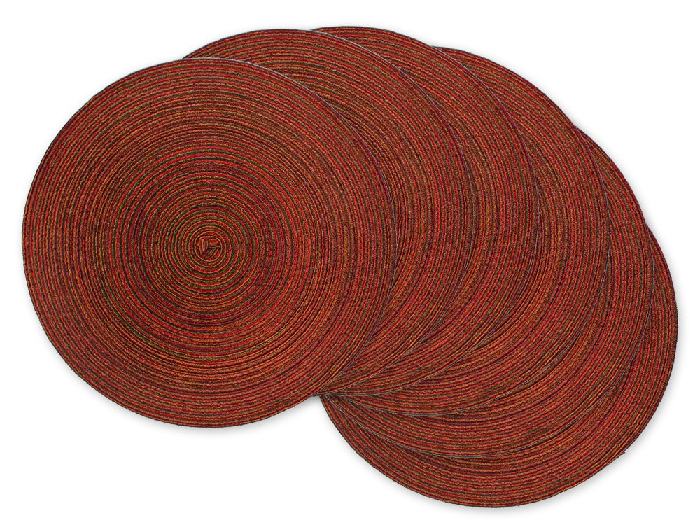 DII Round Woven Placemat, Set of 6, Variegated Red - Perfect for Fall, Dinner Parties, BBQs, Christmas Parties and Everyday Use