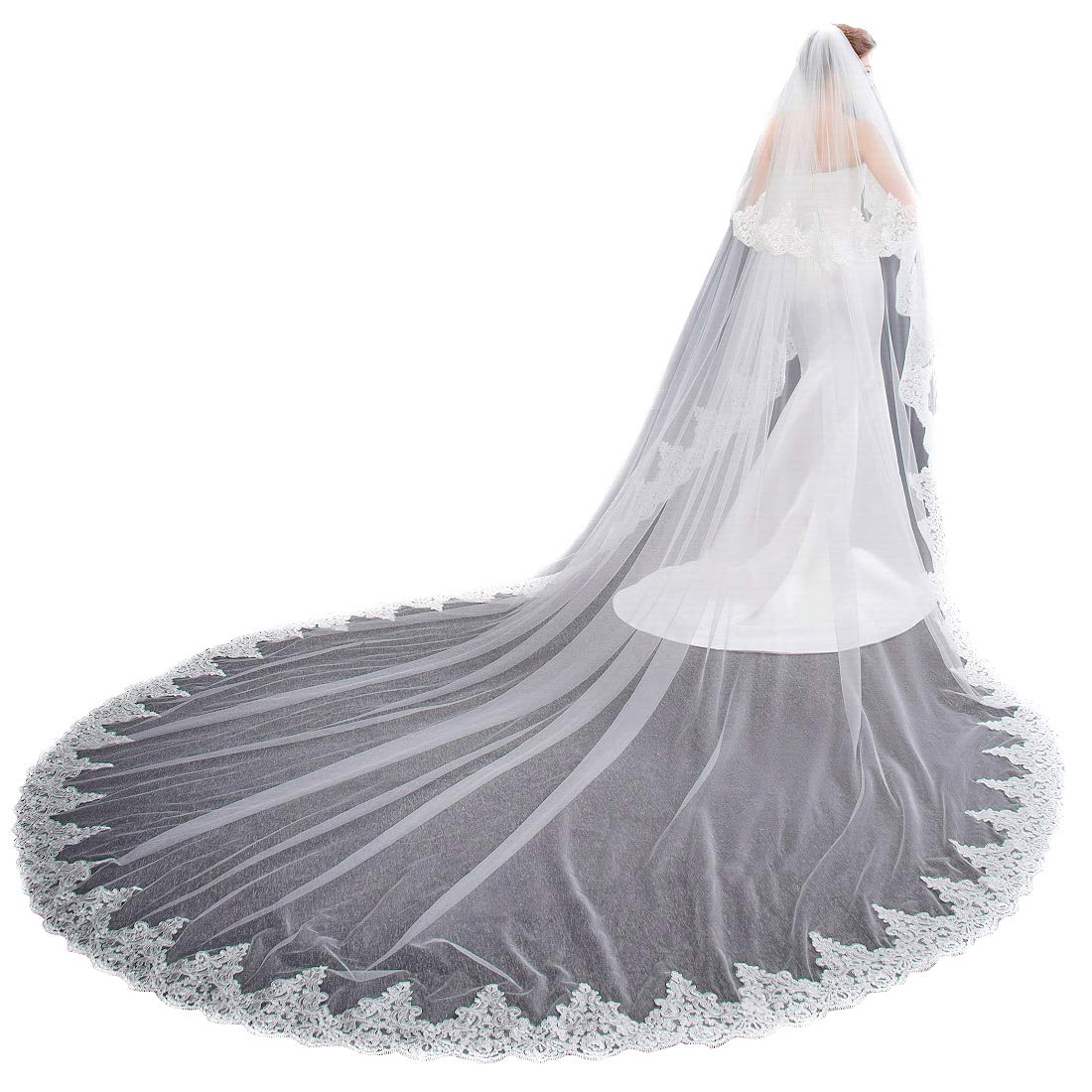EllieHouse Women's 2 Tier Cathedral Lace Ivory Wedding Bridal Veil With Comb L01IV by EllieHouse