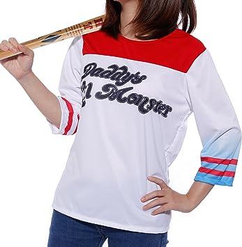 Disfraz de Mujer Chica Cosplay 3/4 Manga Camiseta de Harley Quinn ...