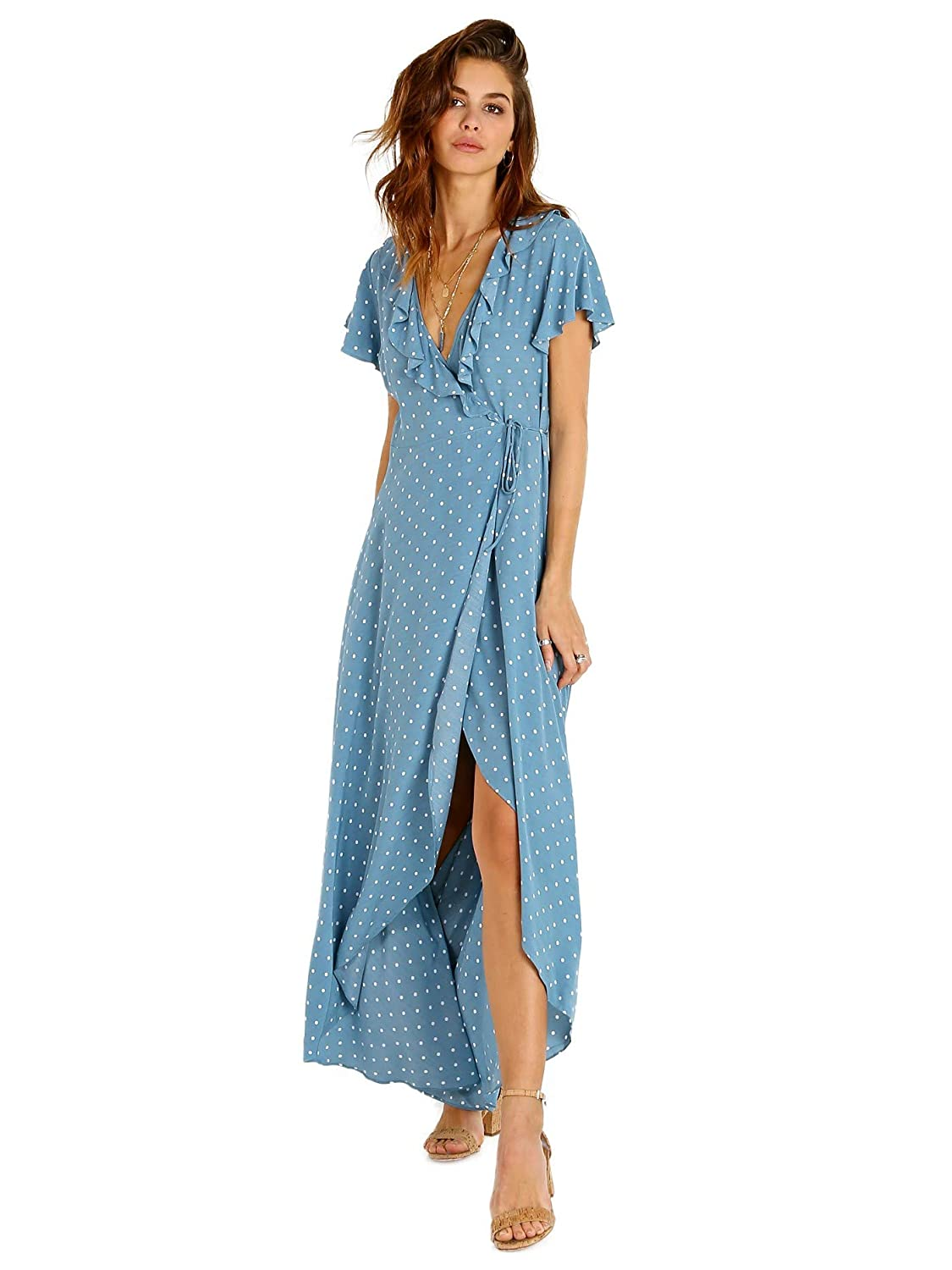 d1e877b342 Auguste the Label Polly Frill Neck Wrap Maxi Dress Blue at Amazon Women's  Clothing store: