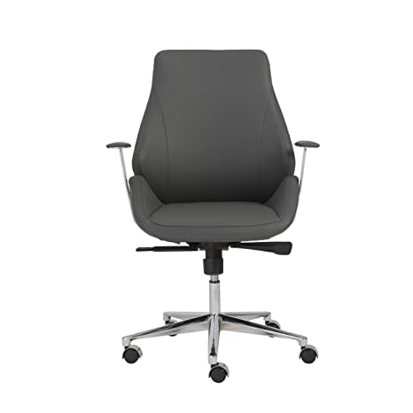 Marvelous Euro Style Bergen Contoured Adjustable Office Chair With Chromed Accent Low Back Gray Gmtry Best Dining Table And Chair Ideas Images Gmtryco