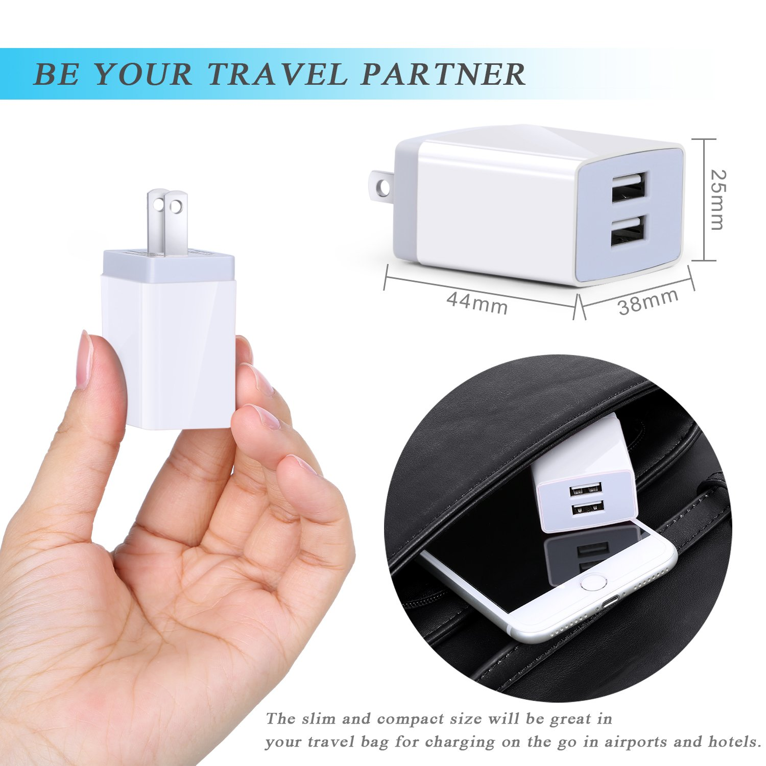Eversame 2-Port 3.1A Travel USB Wall Charger Compatible for Galaxy S7/S6/S4, Note 4(3-Pack, White)