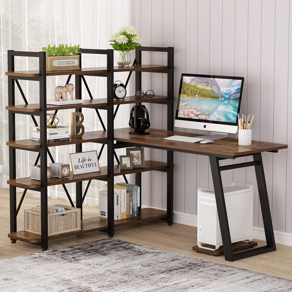 """Tribesigns 55"""" Large Computer Desk with 10 Storage Shelves, Office Desk Study Table with Etagere Bookcase, Writing Desk Workstation with Hutch Bookshelf for Home Office, Vintage Brown"""