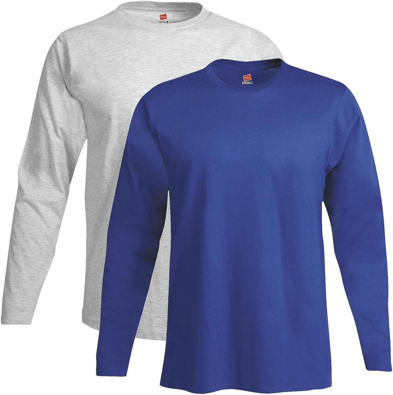 Pack of 2 Hanes Mens Long-Sleeve Premium T-Shirt