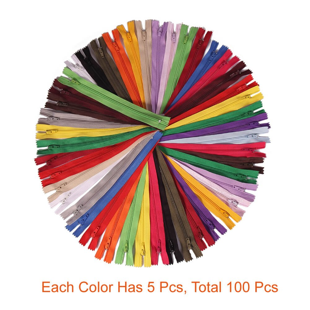 Paxcoo 100Pcs 9 Inch Nylon Coil Zippers Bulk for Sewing Crafts Assorted Colors