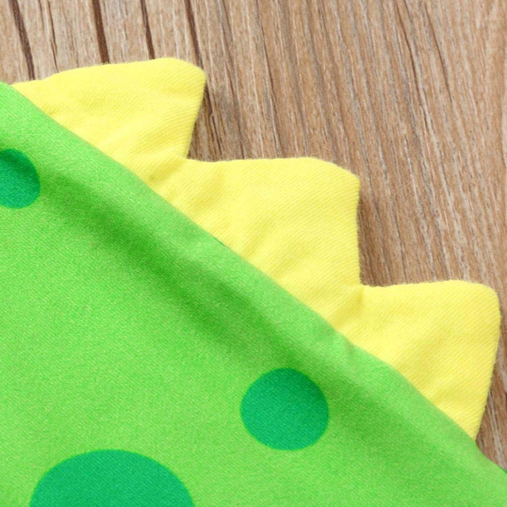 0-24 Months Christmas Party Newborn Baby Boys Girls Romper Set Cotton Dinosaur Dot Jumpsuit Pants Hat Outfits (Green, 0-6 Months) by Aritone (Image #6)