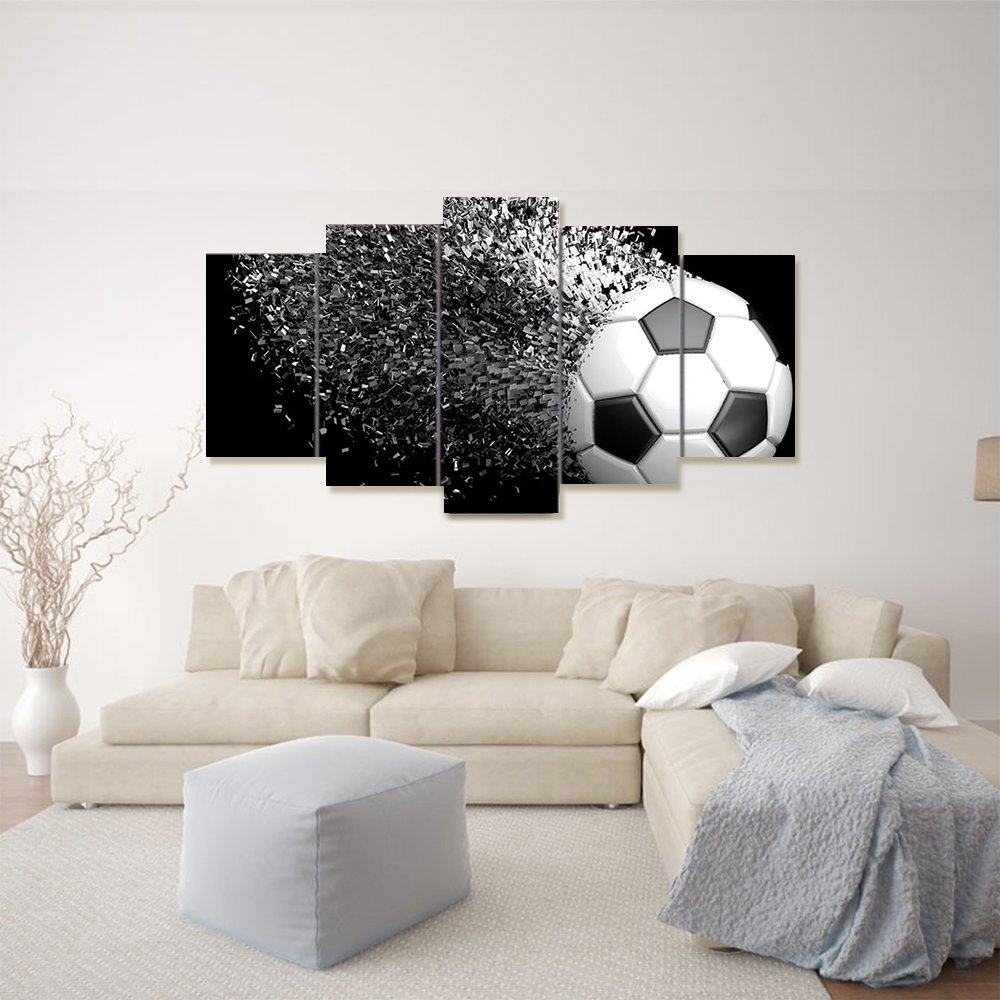 Waterproof Canvas Painting Wall Art Soccer Football Sports Themed Canvas Wall Art for Boys Room Wall Decor Boys Gift Wall Pictures for Living Room & Bedroom, Black, Framed, size 2