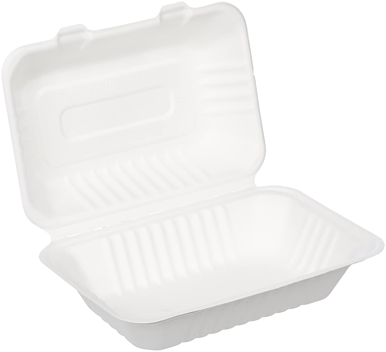 "AmazonBasics Compostable Clamshell Take-Out Food Container, 6"" x 9"" x 3"", Pack of 50"