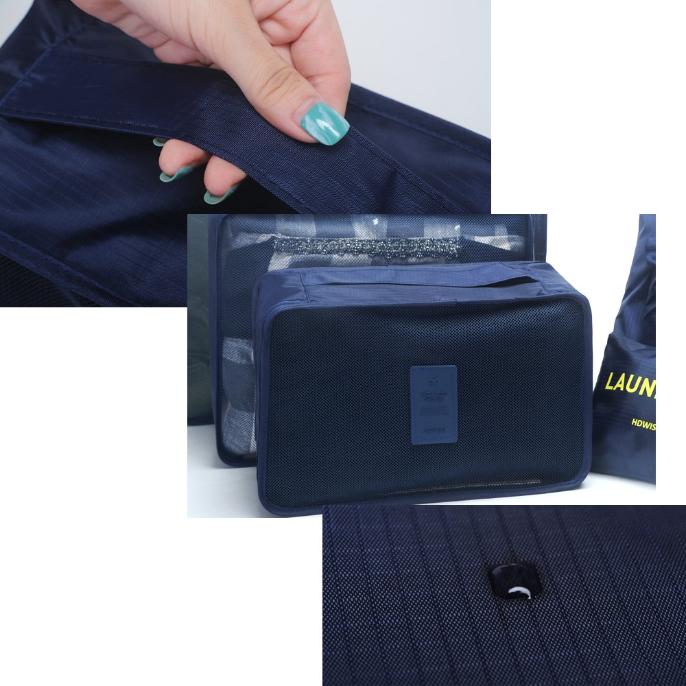 aKing Packing Cubes Set of 6 Travel Organizers with Laundry Bag for Travel Compression(Navy)