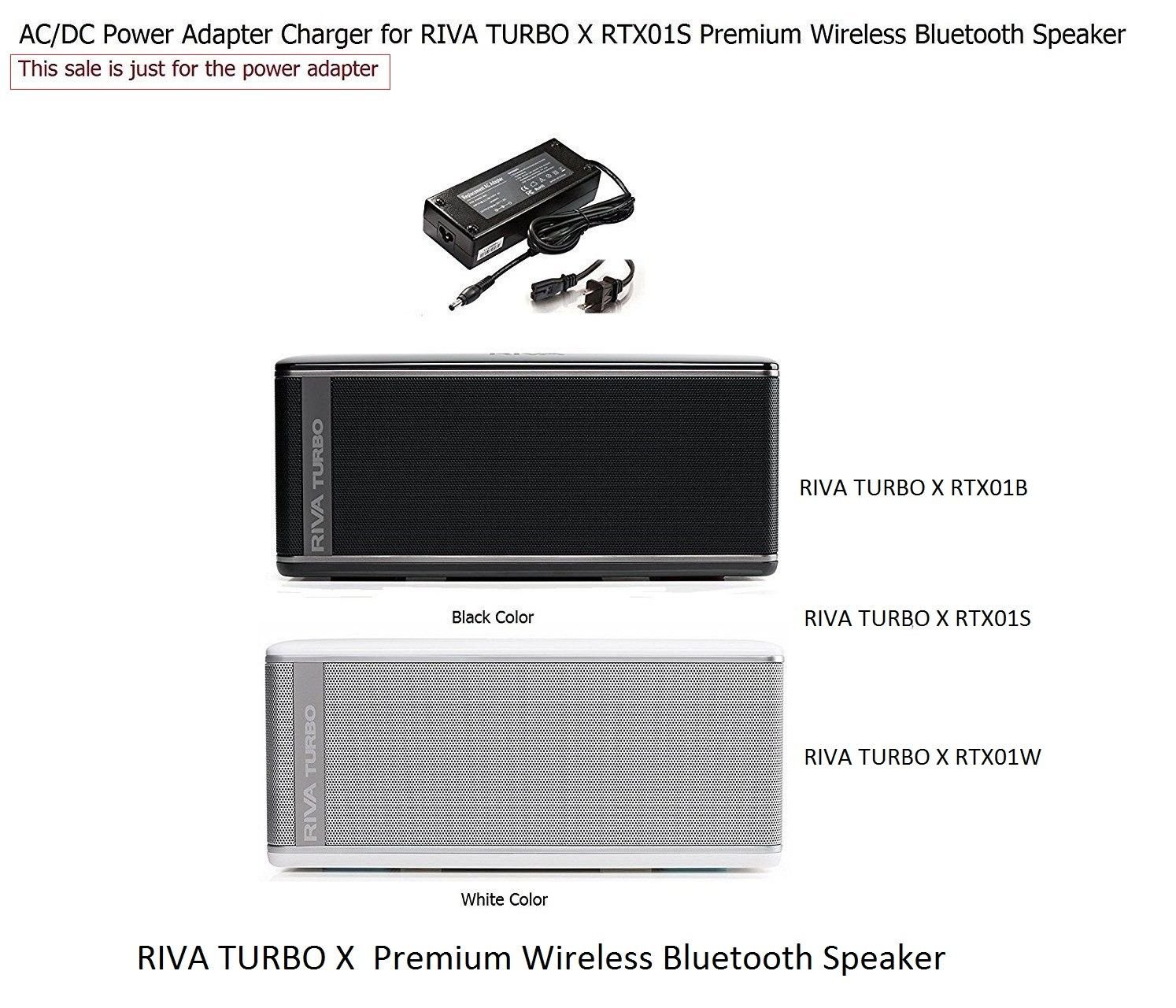 Amazon.com: Charger for RIVA TURBO X Premium Bluetooth Wireless Speaker: Musical Instruments