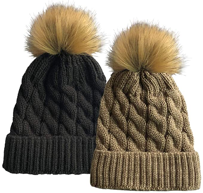 SOFT GRIP Women Cable Knit Slouchy Thick Winter Hat Beanie Pom Pom 1 ... 0b778d78dbe