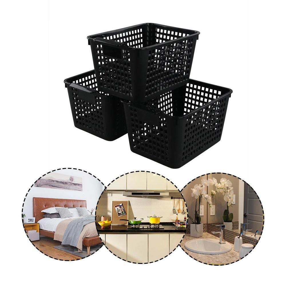 Panier Plastique Rectangulaire Bblie Lot de 6 Paniers de Rangement En Plastique Noir Panier de Stockage