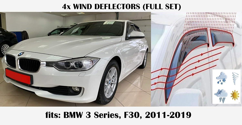 Mrp Set Of 4 Wind Deflectors Compatible with BMW 3 series F30 F30 4-doors Sedan//Saloon 2012 2013 2014 2015 2016 2017 2018 2019 Acrylic Glass Side Visors PMMA
