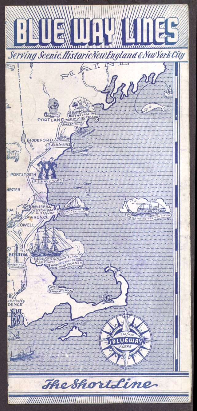 Blue Way Lines Bus Schedule NYC-New England 9/27 1936 at