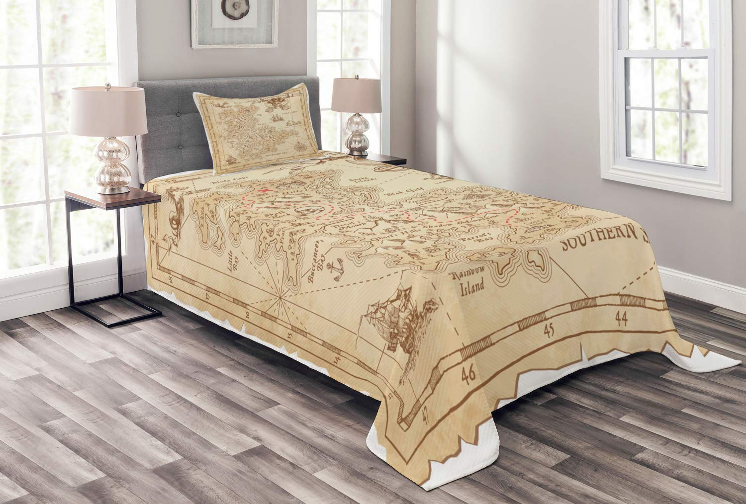 Ambesonne Island Bedspread, Old Antique Treasure Map with Details Retro Color Adventure Sailing Pirate Print, Decorative Quilted 2 Piece Coverlet Set with Pillow Sham, Twin Size, Cream