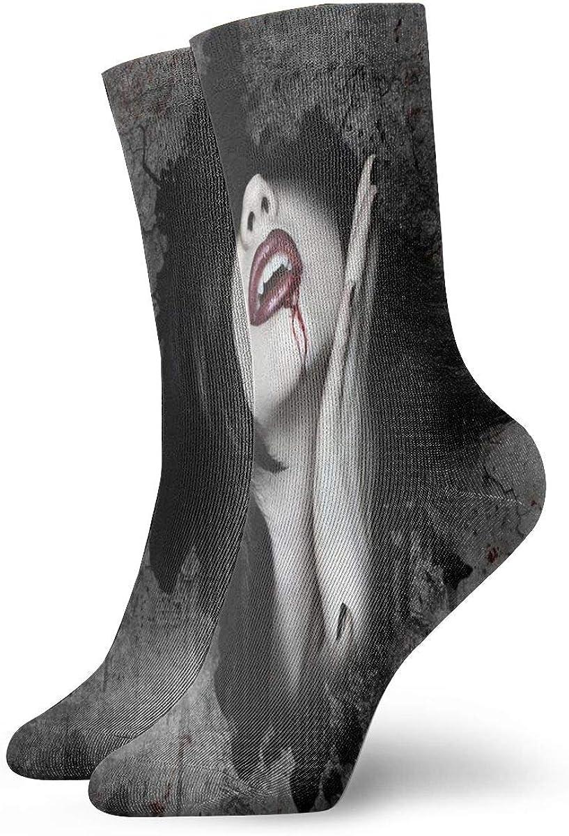Running Travel Flight Socks Dark Fantasy Gothic Women Vampires Blood Face Crew Socks For Women /& Men