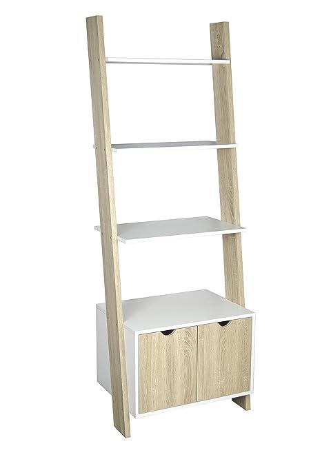 Modern Ladder Shelving Unitwall Shelf Stairs Wandleh Shelf White