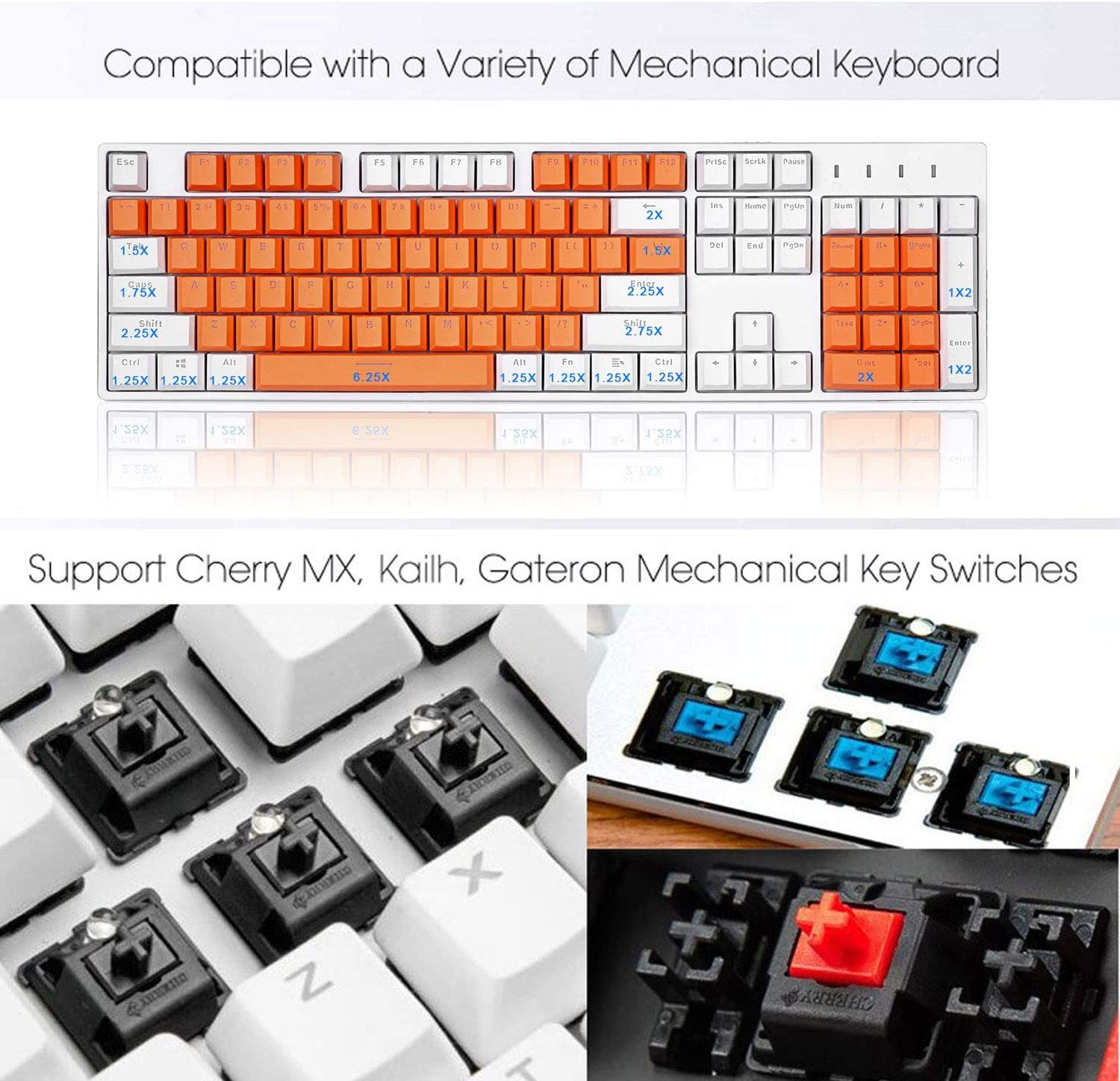 AWZSDF PBT Double Click Double Color keycap Set 104 Key Cap for All Mechanical Keyboards,Dedicated Personality Double Color Mode Light transmissive Non-Fading Color Key Cap,B