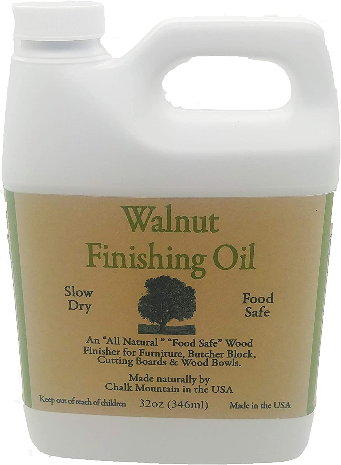 Chalk Mountain Brushes 32oz Walnut Oil Food Safe Finisher. Great for Wooden Utensils. Preserve and Beautify Unfinished Wood.
