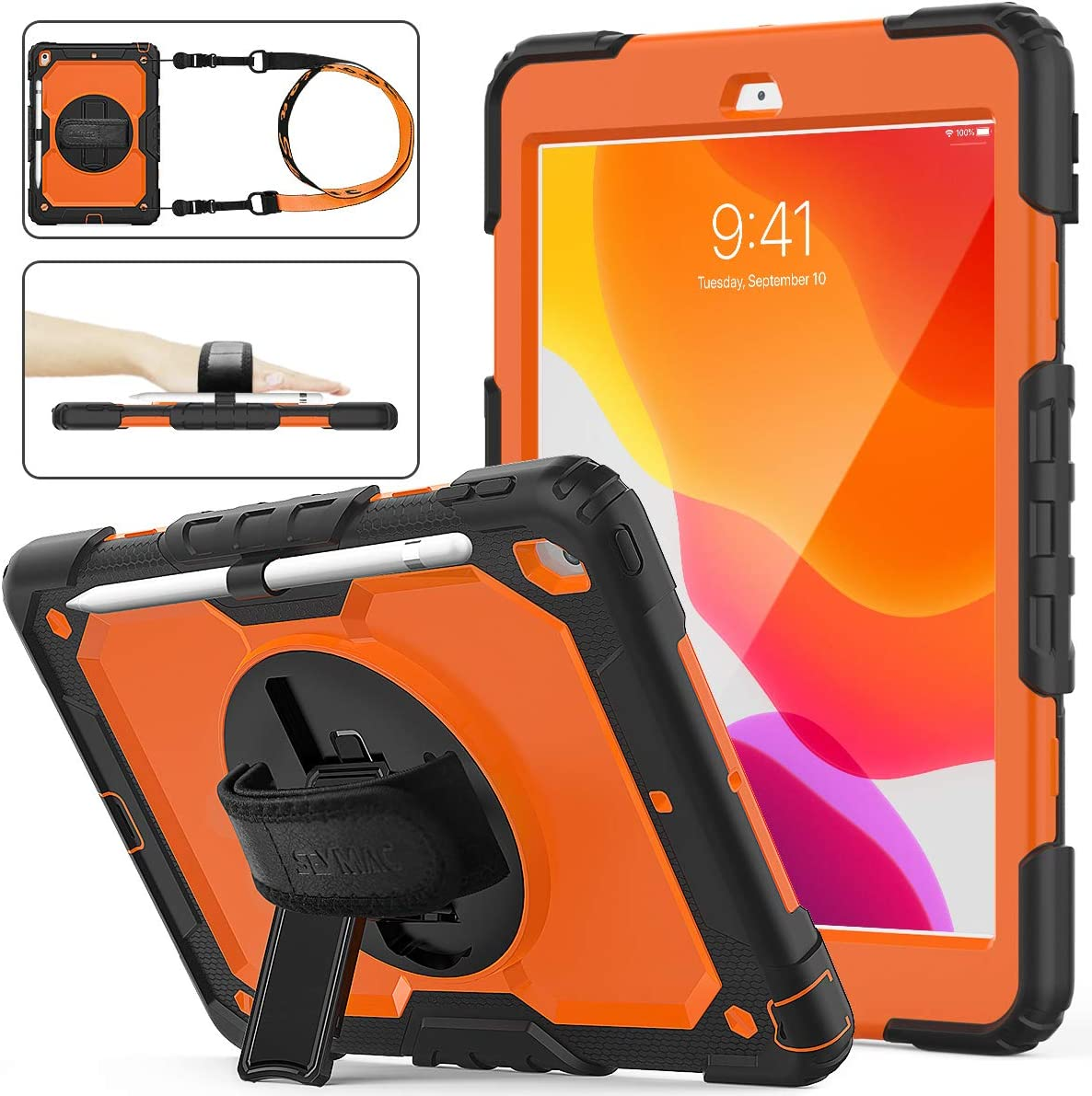 iPad 8th/7th Generation Case, New iPad 10.2 Case [Full-body] & [Shockproof] Armor Protective Case with [360 Rotating Stand] & Strap [Pencil Holder] for iPad 8th/7th Generation 2020/2019 (Orange+Black)