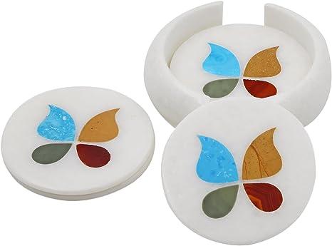 Tea coaster marble coaster,hand made coaster,Home Decorative Table Decor Marble Inlay Coaster Set with Holder coaster set