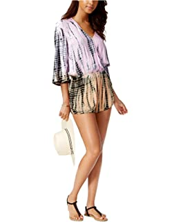 748d22205 Raviya Lace-up Tie-Dyed Romper Cover at Amazon Women's Clothing store: