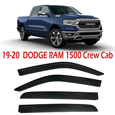 Optimal Co 2020 2020 Smoke Tinted Side Window Vent Visor Deflectors Rain Guards fit for Dodge Ram 1500 Crew Cab Only - 4 Piece Set: Automotive