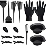 15 PCS Hair Coloring Dyeing Kit, Include Hair Tinting Bowl/Dye Brush/Mixing Spoon/Ear Cover/Gloves Hair Dye Tools for Hair Co