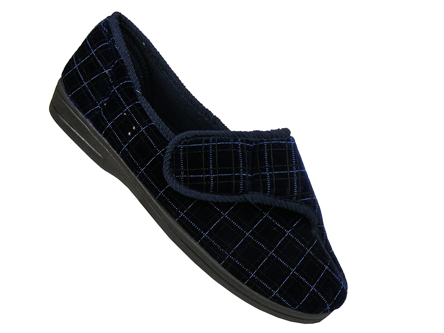 MENS NAVY WIDE FIT ORTHOPEDIC WASHABLE STRAP SLIPPERS SHOES,SIZES 7-12