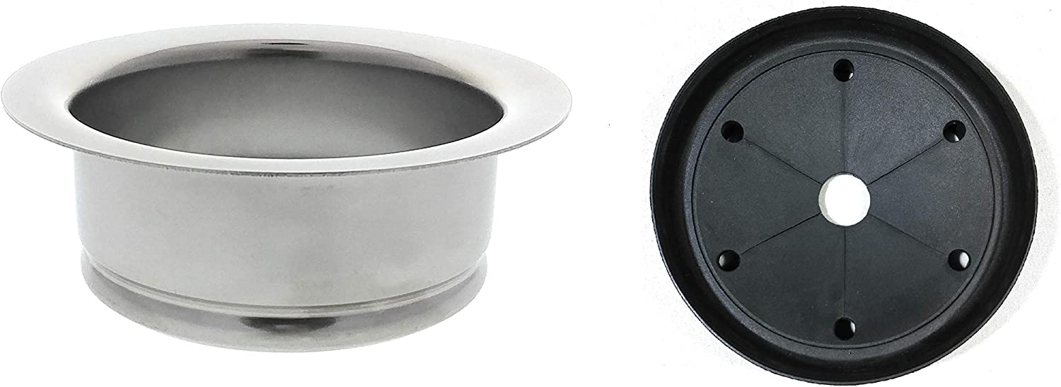 Kitchen Sink Flange + Splash Guard - Deep Polished Stainless Steel Flange For Insinkerator Garbage Disposals And Other Disposers by Essential Values