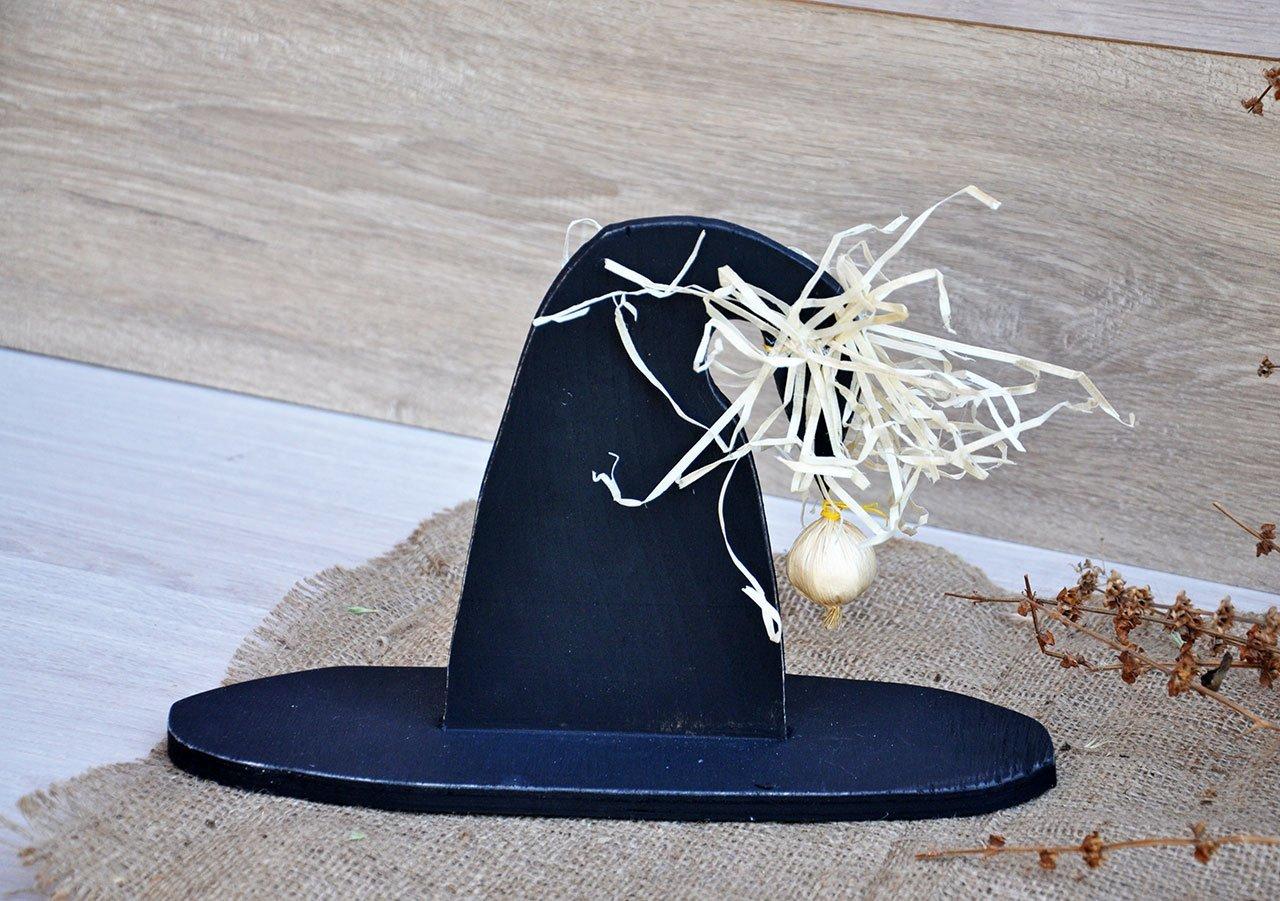 Witch hat halloween Wood Halloween decorations Wooden witch hat black Wooden Halloween yard decorations Garden rustic decoration Outdoor halloween decoration Terrasse decor