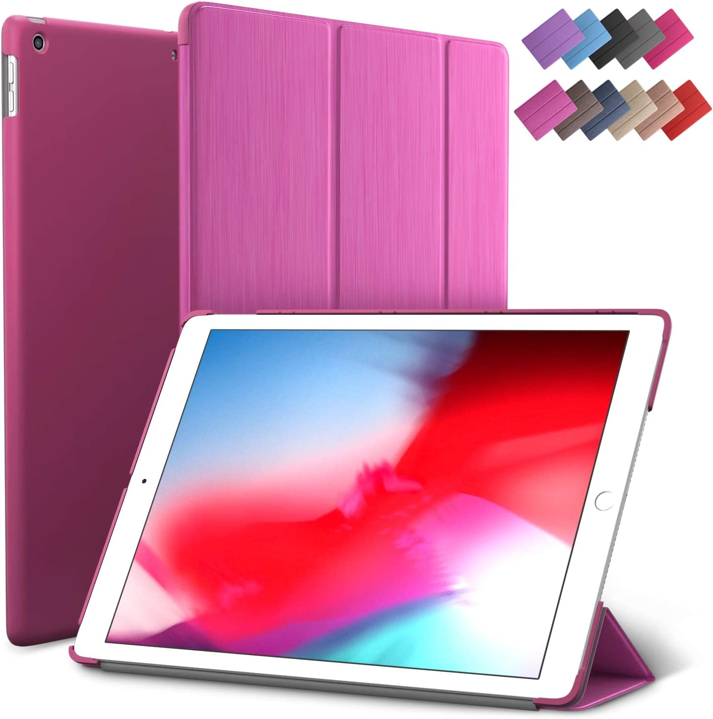 iPad Mini 5 case, ROARTZ Metallic Magenta Slim Fit Smart Rubber Coated Folio Case Hard Cover Light-Weight Wake/Sleep for Apple iPad Mini 5th Generation 2019 Model A2133 A2124 A2126 7.9-inch Display