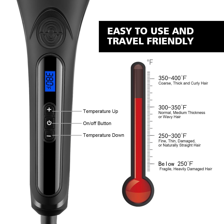 Cepillo alisador de pelo de cerámica de metal, cepillo alisador de aire caliente con avanzada tecnología MCH, calentamiento rápido automático de temperatura ...