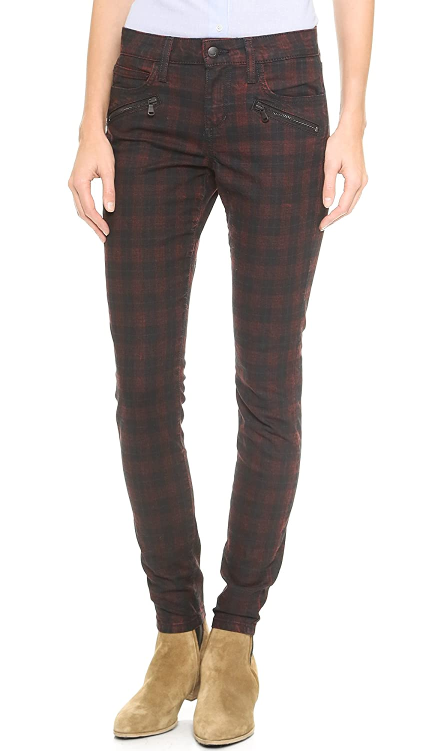 Joe's Jeans Women's in Line Zip Skinny in Coated Red Plaid
