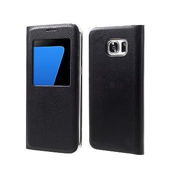 388a9ac7bbb Funda Samsung S7 Edge, Lincivius®, [Flip Cover view] Carcasa Samsung Galaxy  S7 Edge Con Tapa A libro Finestra Estuche Resistente Anti Golpes  Accesorios: ...
