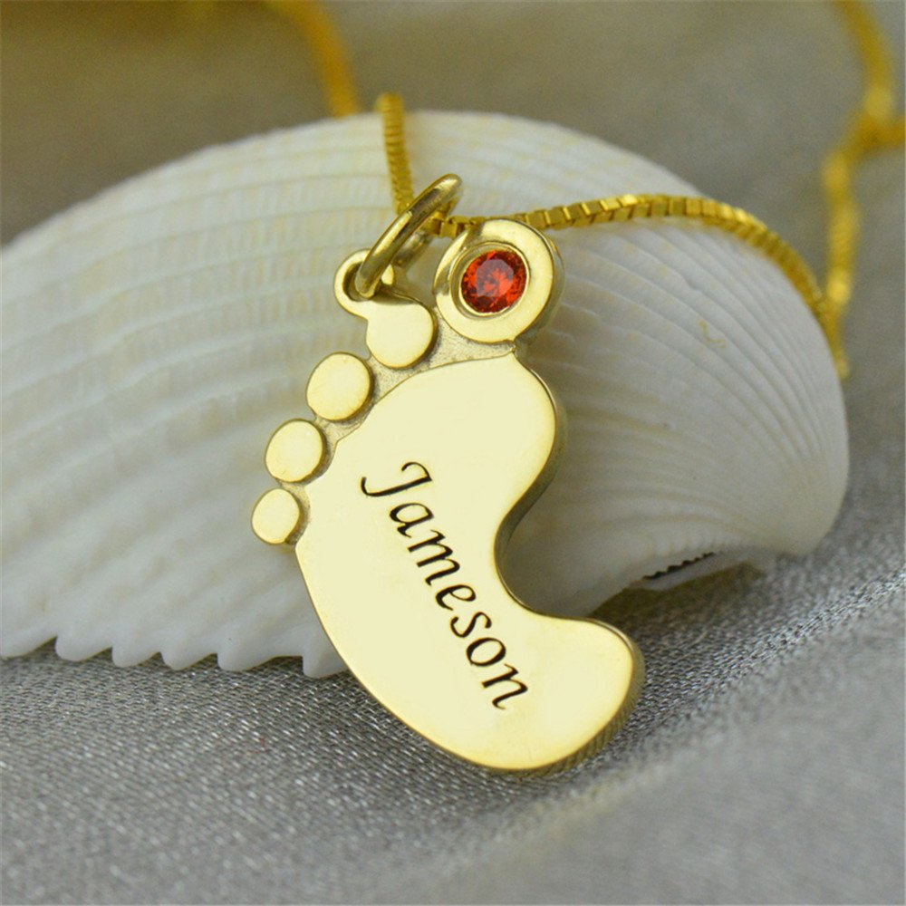 KIKISHOPQ Footring Name Birthday Inlaid Birthstone Necklace Halloween