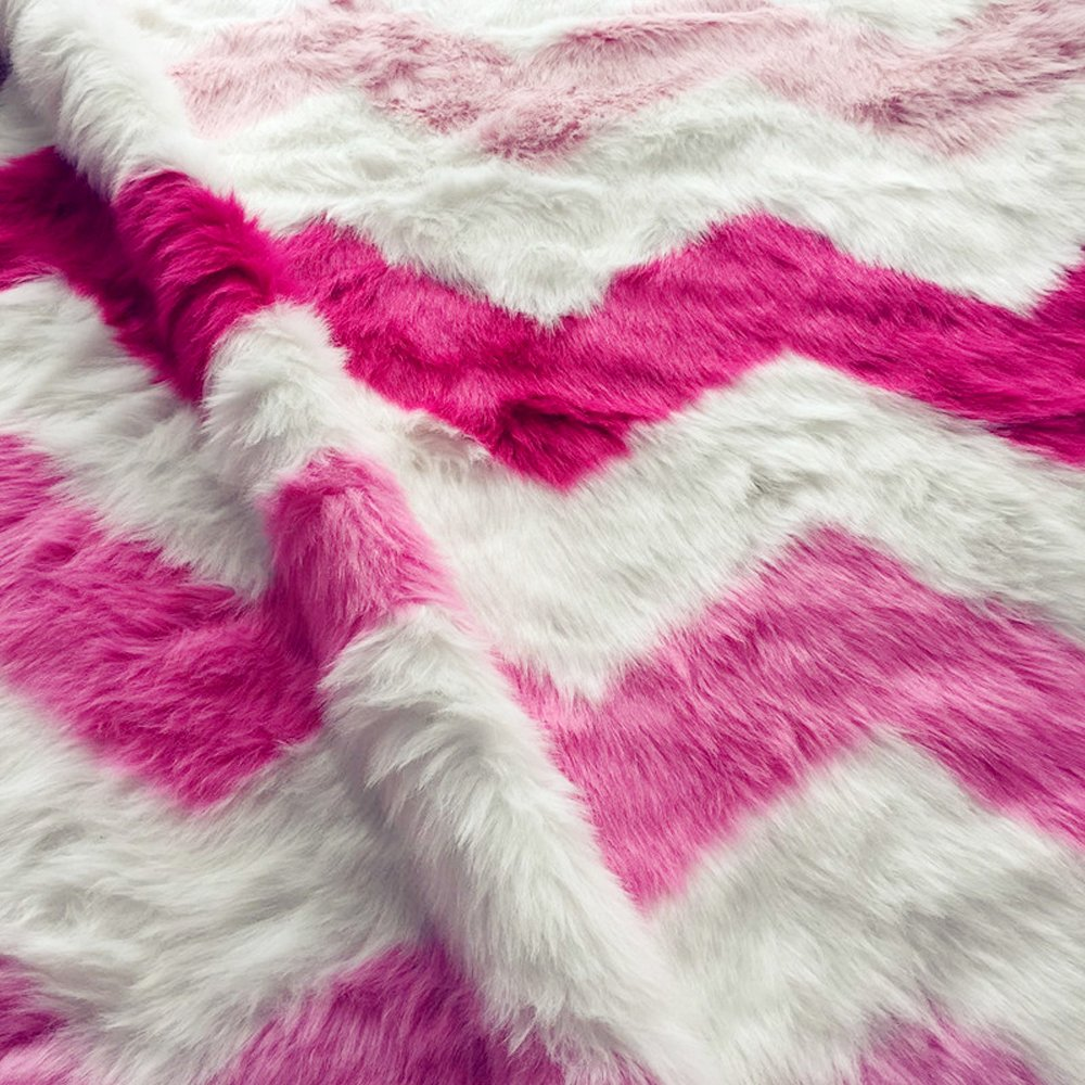Wolala Home Pink and White Stripe 2 x 3ft Faux Fur Rug Shag Fuzzy Fluffy Sheepskin Rug, Super Soft Area Rug for Chair Cover Seat Pad ly2-2