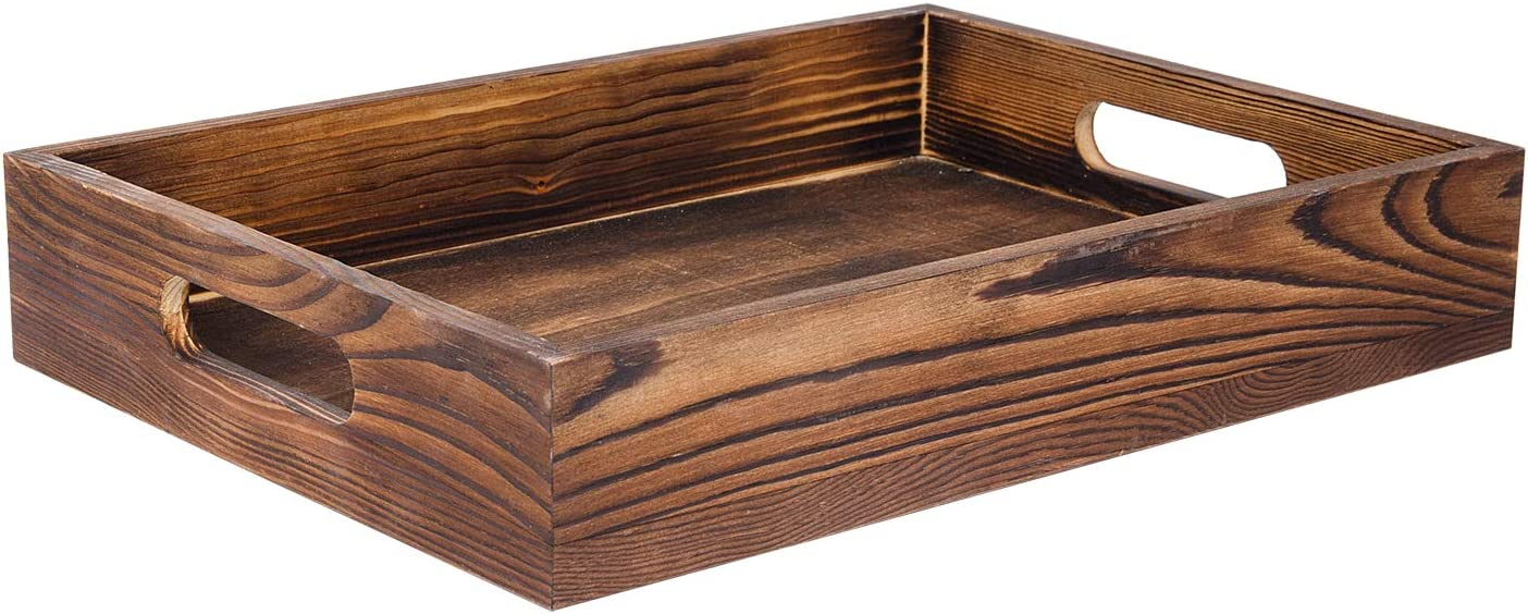 Liry Products Rustic Brown Wood Food Serving Tray Cutout Handles Breakfast in Bed Coffee Wine Rectangular Ottoman Nesting Crate Tabletop Storage Box Desktop Document Holder Party Office Home Kitchen