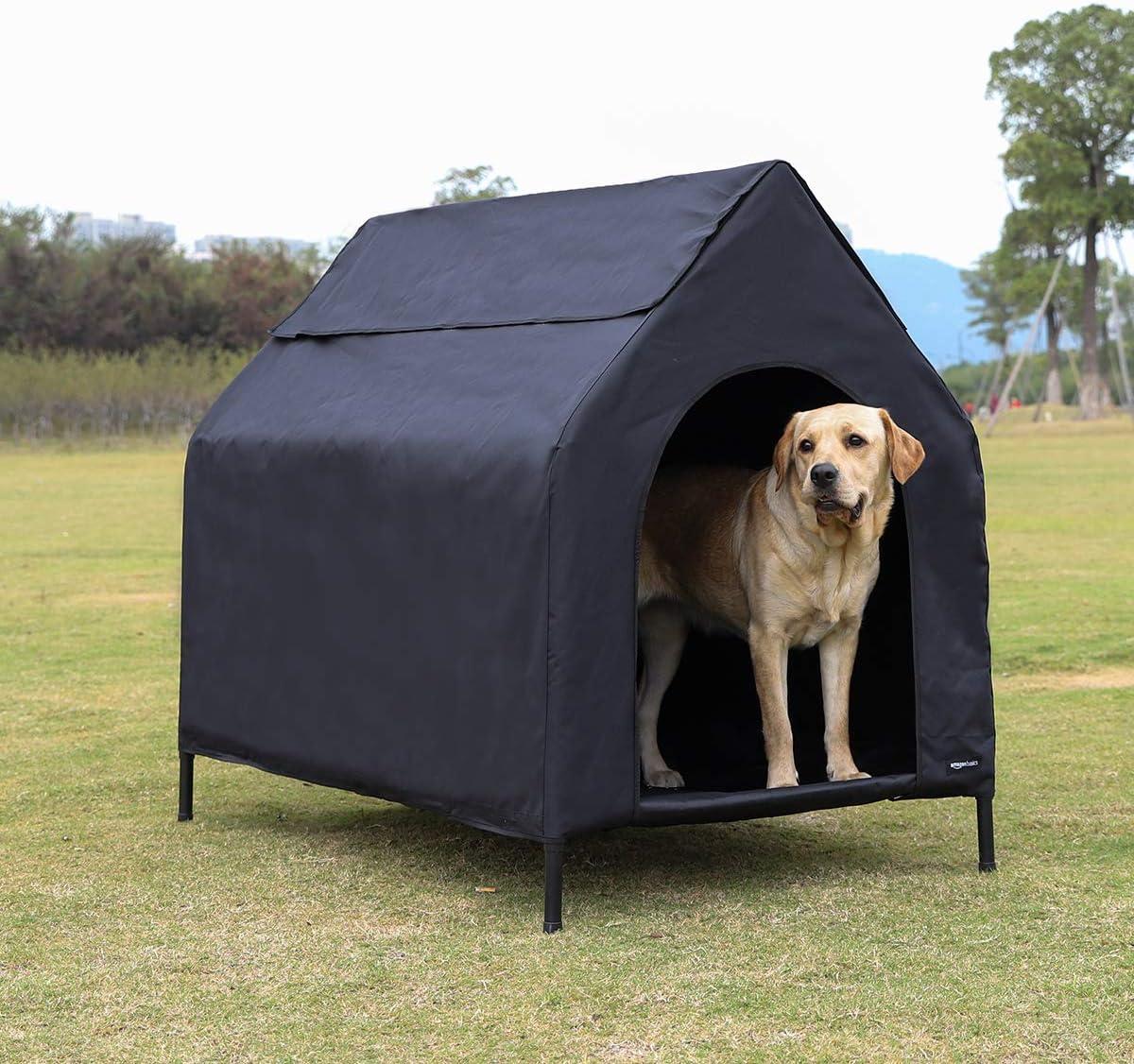 AmazonBasics - Caseta para mascotas, elevada, portátil, grande, negra