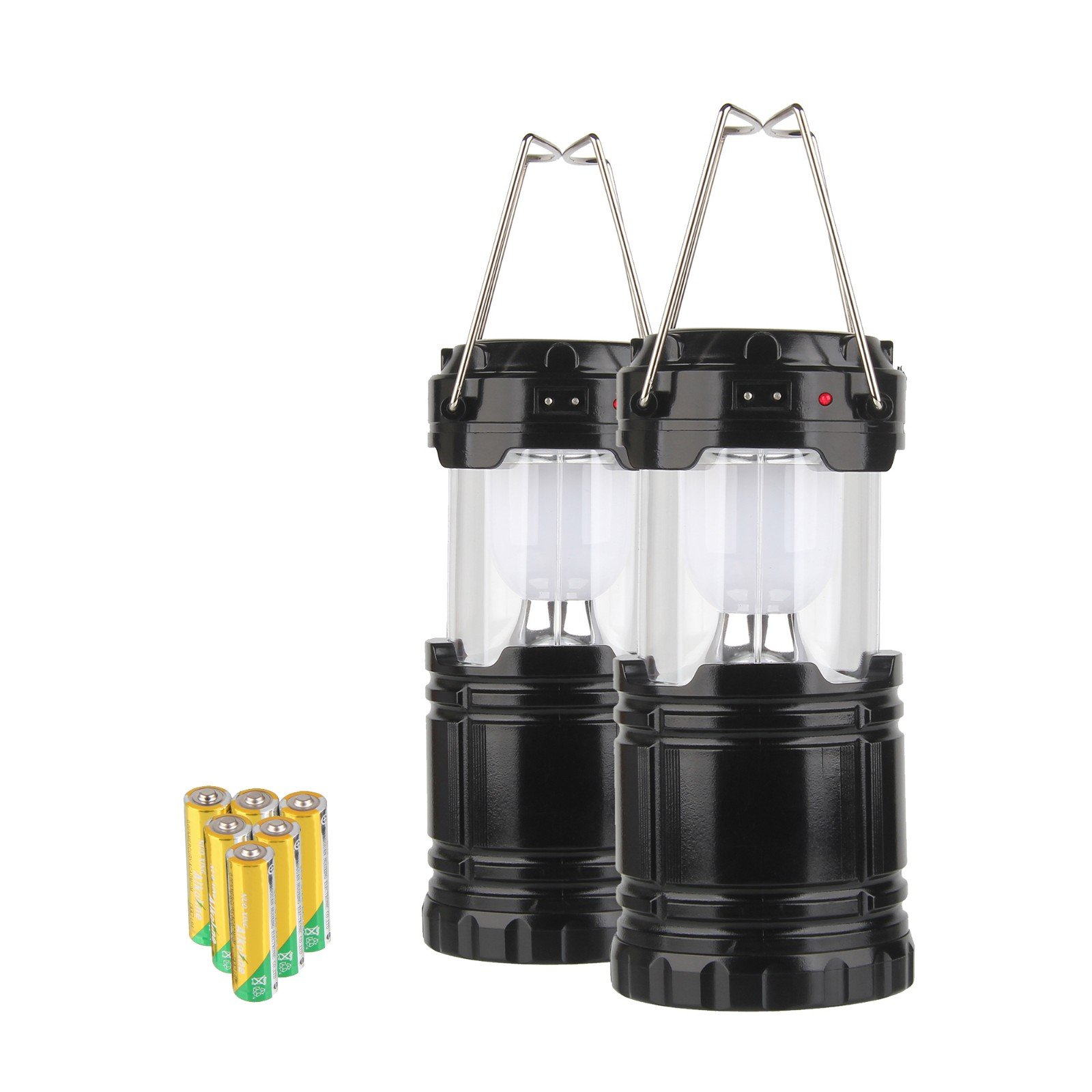 Beauty7 Pack 2 Collapsible Portable COB LED Solar/DC Rechargeable Bright Hanging Camping Tent Lantern with 6X AA Batteries for Hiking Fishing Trekking Hurricane Storm Outage Emergency