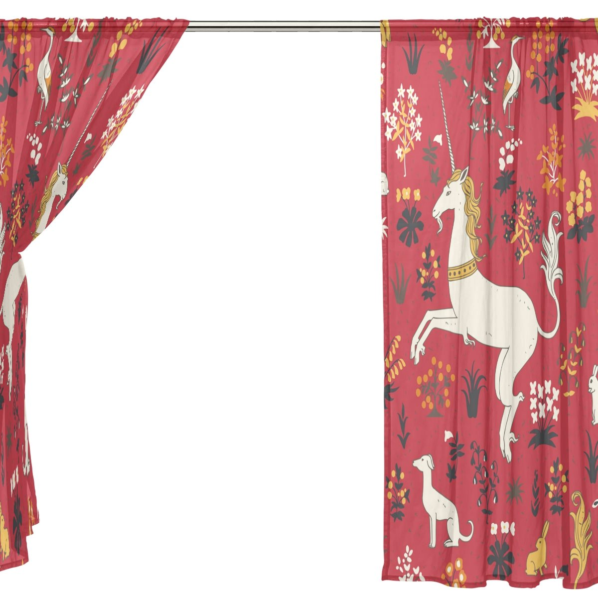 SEULIFE Window Sheer Curtain, Vintage Animal Unicorn Rabbit Flower Voile Curtain Drapes for Door Kitchen Living Room Bedroom 55x78 inches 2 Panels by SEULIFE (Image #4)
