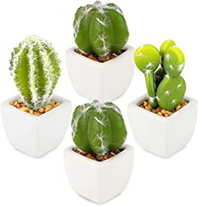 Artisulent Artificial Succulent Plants Artificial Cacti Arrangement Set of 4 Mini Fake Cactus for Home Decor and Office Decoration.
