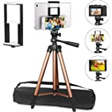 "PEMOTech Compatible for Ipad iPhone Tripod, 50 Inch Lightweight Aluminum Phone Camera Tablet Video Tripod + 2 in 1 Mount Holder for Smartphone (Width 2-3.3""), Tablet (Width 4.3-7.2"")"