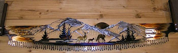 Rustic Metal Wall Art   Deer Family Cross Cut Saw (5 Feet Wide)