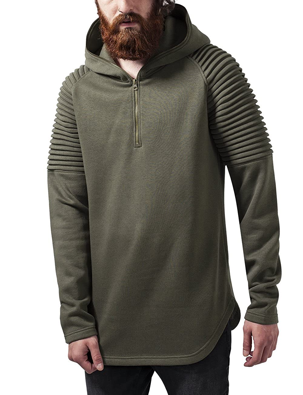 TALLA L. Urban Classics Pleat Sleeves Terry Hoody Sudadera para Hombre