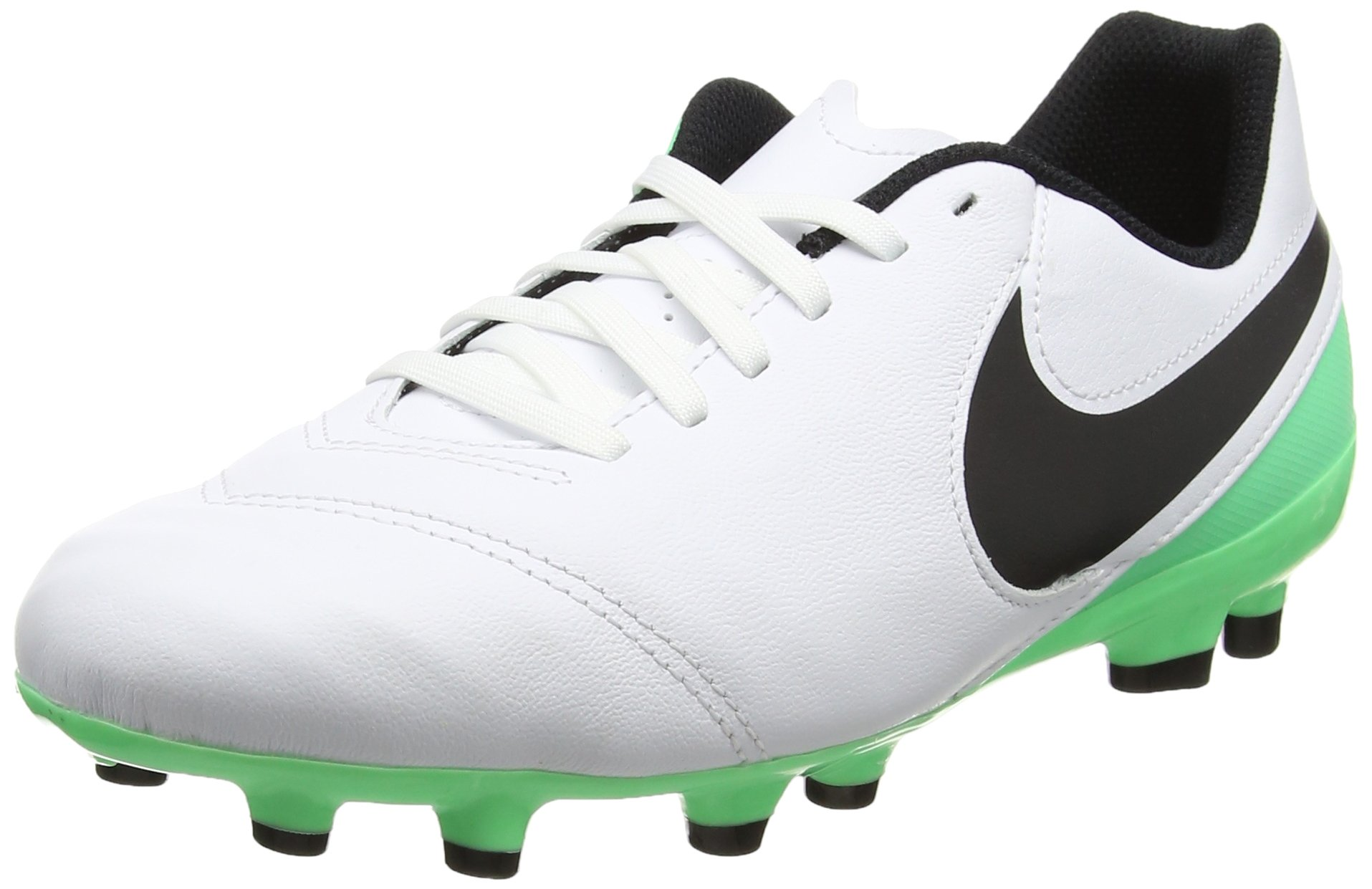 NIKE Kids Jr Tiempo Legend VI FG Soccer (Toddler Big), White/Black/Electro Green, 2 Little Kid M
