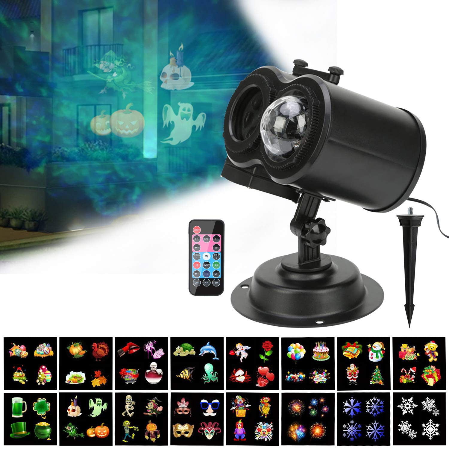 Htwon Halloween Projector Lights, 2018 New Christmas Water Wave Animated LED Light Projector with 12 Slides Patterns, Remote Control Landscape Decoration Lighting for Birthday Party (Ocean)
