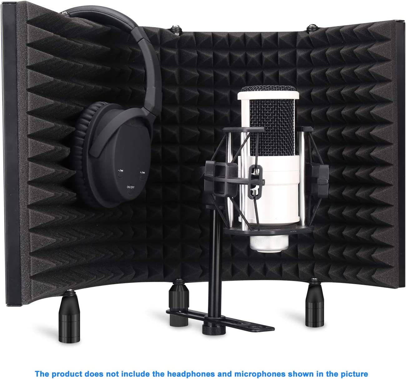 Aokeo Professional Studio Recording Microphone Isolation Shield, Pop Filter.High density absorbent foam is used to filter vocal. Suitable for blue yeti and any condenser microphone recording equipment 71nuEo8j6UL