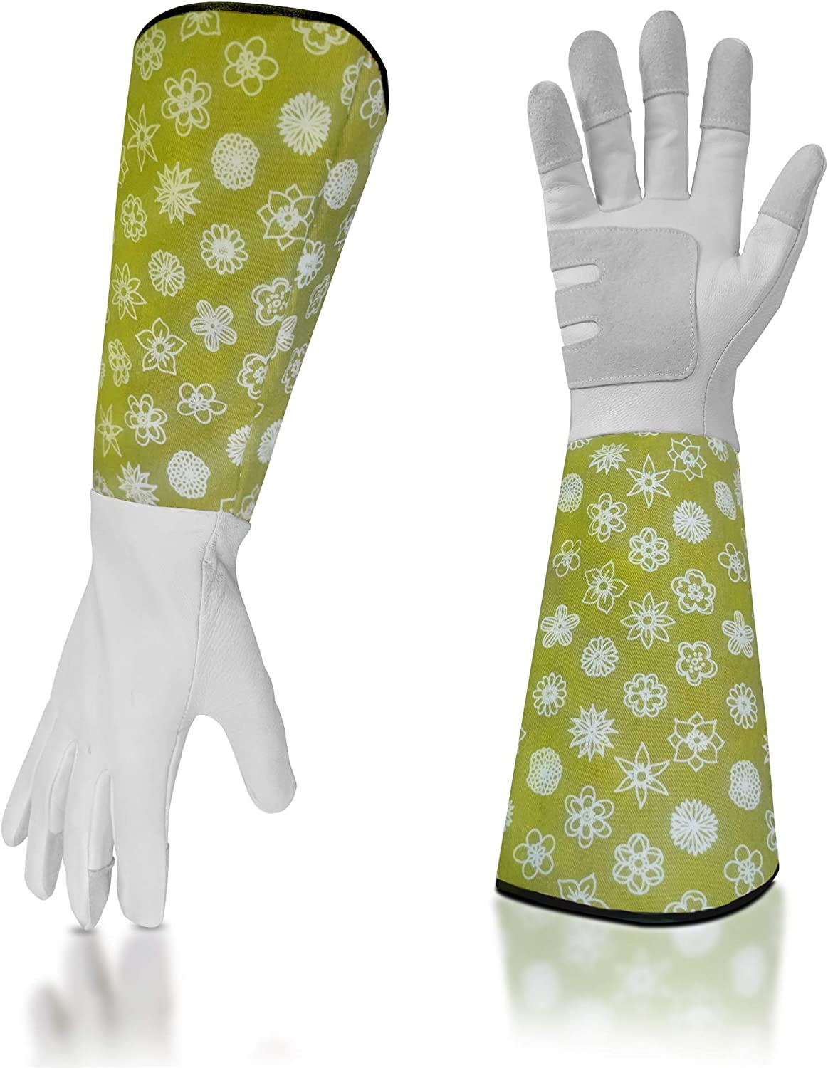Leather-Gardening-Gloves for Women/Men - Rose/Blackberry Pruning Thorn Proof Heavy Duty Gloves Goatskin Leather Gloves Thick Palm Gauntlet Garden Work Gloves with Forearm Protection -Flower