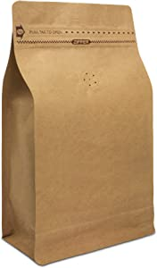 Natural Kraft Coffee Pouches, Resealable Coffee Bag with valve, Flat Bottom Pull Tab Zipper (25pcs, 16oz, 1lb)